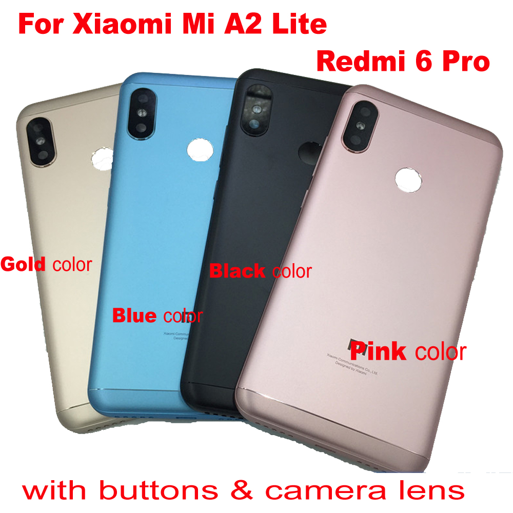 Original LTPro For <font><b>Xiaomi</b></font> <font><b>Mi</b></font> <font><b>A2</b></font> Lite Back Rear <font><b>Cover</b></font> <font><b>Battery</b></font> Door Metal Housing Case + Power Volume Button For Redmi 6 Pro PARTS image