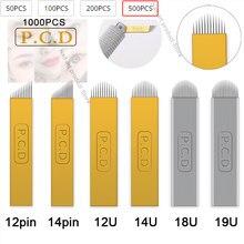 100/200/500/1000 pces nano lâmina lamina microblading agulha 12/14/12u/14u microblading bordado pernement maquiagem sobrancelha dispositivo