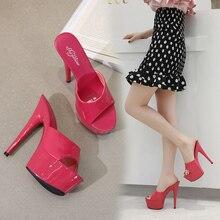 Женские свадебные туфли shuбоумы 2020, пикантные туфли на высоком каблуке 15 см для ночного клуба, тапочки на каблуке, водонепроницаемые сандалии, летние туфли лодочки