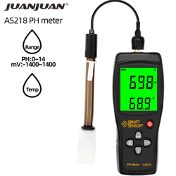 Digital PH Meter AS218 PH Tester Range 0.00~14.00pH Moisture Measuring Instrument Water PH Acidity Meter LCD Display 30% off