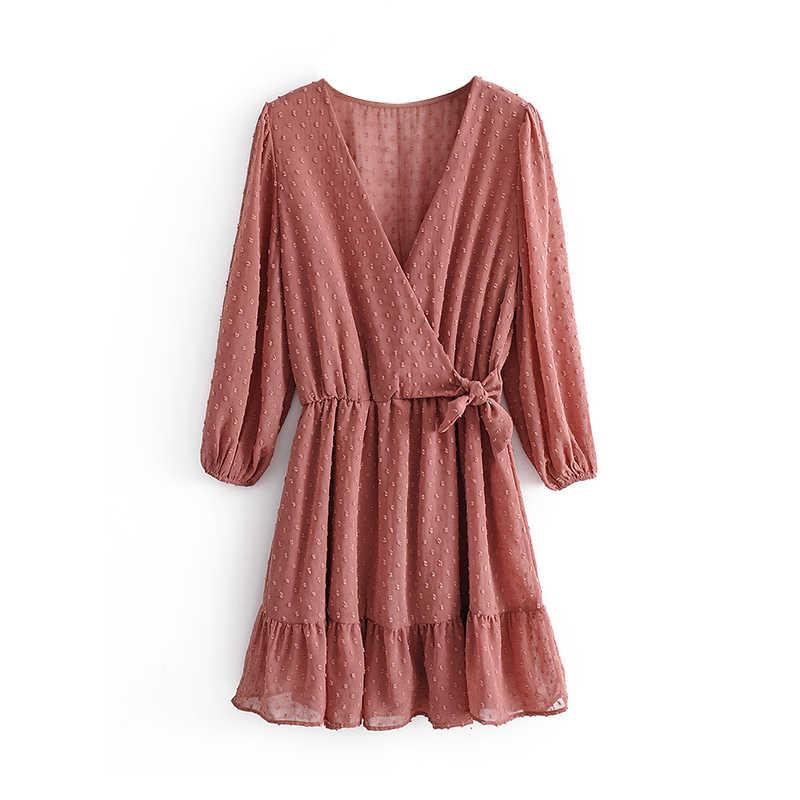 Aachoae فستان نسائي صيفي قصير من الشيفون والكشكشة موديل 2020 من Aachoae فستان شاطئ قصير بأكمام ثلاثة أرباع فساتين حفلات نسائية
