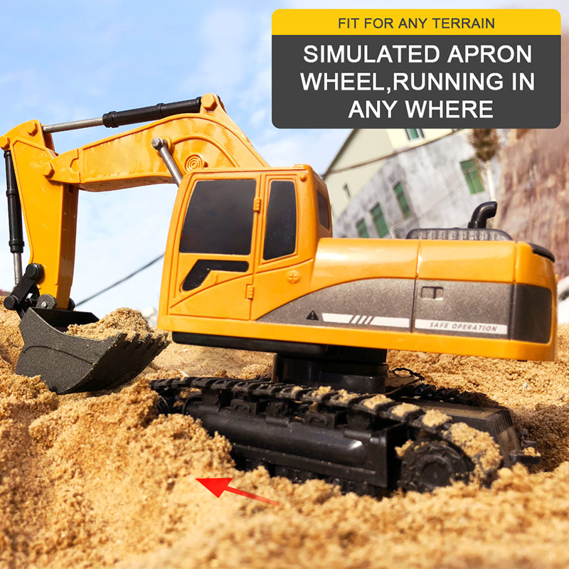 1:24 4CH 270 Degree Rotation Alloy Bucket RC Excavator Tractor Construction Vehicle Toy Engineering Car Kid Hobby Collection Toy