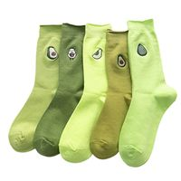 5 Pairs Women Cartoon Sock Avocado Fruit Embroidery Cotton Green Street Crew Socks