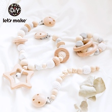 Lets Make 3 pièces/ensemble hochet de berceau pour bébé Mobiles, sucette porte chaîne en bois pour mamelons, enfants, poussette, jouets