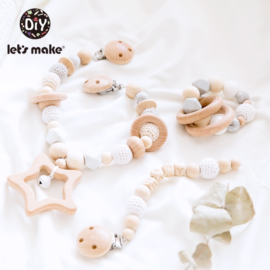 Let's Make 3pc/set Baby Rattles Crib Mobiles Wooden Pacifier Chain Holder For Nipples Kids Stroller Accessories Baby Crib Toys