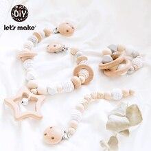Lets make 3 pçs/set chocalho para bebê, berço, celulares, madeira, suporte de chupeta para mamilos, carrinho de bebê, acessórios brinquedos, brinquedos