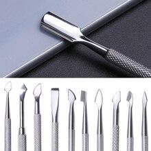 1 uds, cuchara de empuje para cutícula de uñas de doble punta, acero inoxidable, removedor de esmalte de Gel UV, recortadora de piel muerta, varilla de pulido, herramienta de manicura JIA17
