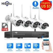 Sistema de CCTV inalámbrico Hiseeu 8CH 1080P 1TB 4 Uds 2MP NVR wifi IR-CUT cámara CCTV al aire libre sistema de seguridad IP Kit de videovigilancia