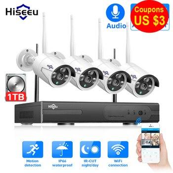 Hiseeu 8CH bezprzewodowy System CCTV 1080P 1TB 4 sztuk 2MP NVR wifi IR-CUT na świeżym powietrzu kamera telewizji przemysłowej zabezpieczenia IP System wideo zestaw do nadzorowania