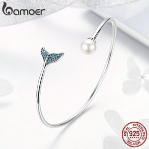 Image 3 - BAMOER pulsera de plata de ley 100% Plata de Ley 925 con cola de sirena azul, brazalete con perlas, joyería de plata delicada SCB123