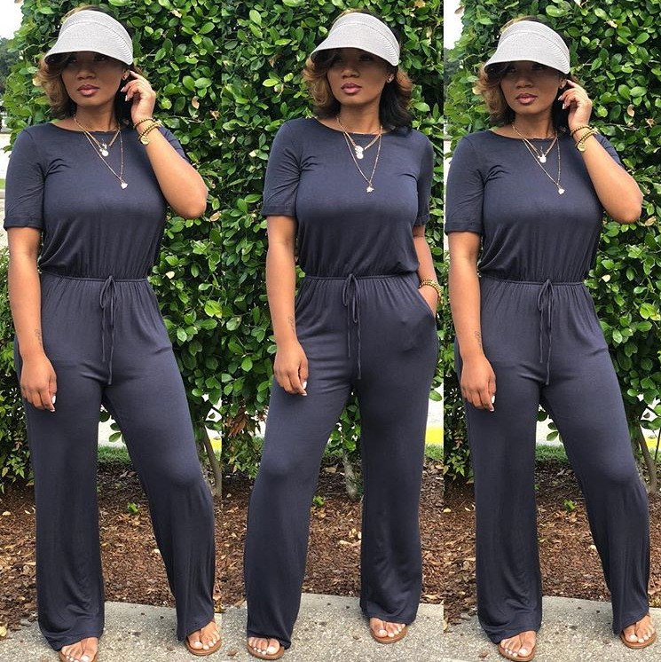 Fashion Nice Sexy Solid Lace Up Wide Leg Jumpsuit Women Short Sleeve Sashes Summer Jumpsuits Casual Loose Long Rompers