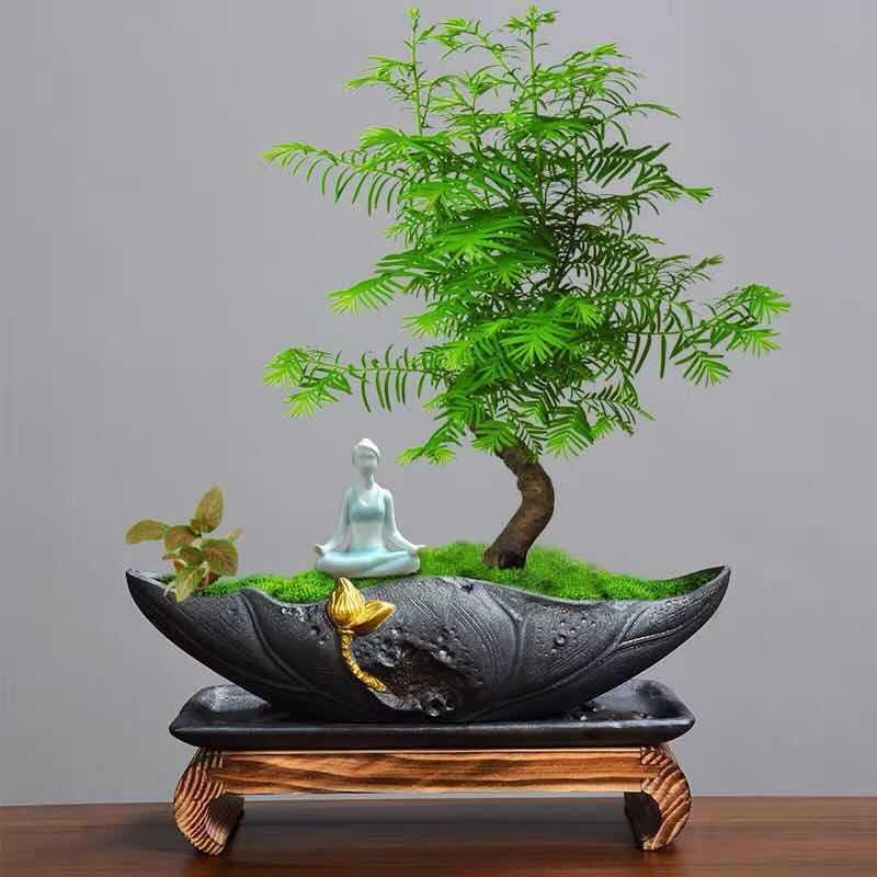 Desktop flower pot landscaping micro landscape bonsai pot creative ceramic painting gold black pottery pot bamboo planting pot