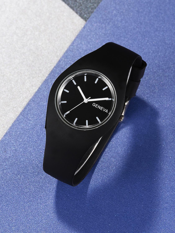 Wrist-Watch Gel-Band Quartz Girls Silicone Boys Kids Student Women Black for Gift Fashion