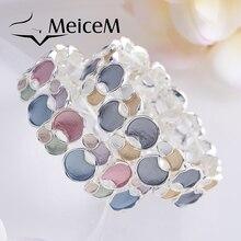 MeiceM Geometric Circle Bracelets for Women Fashion Enamel Bracelet Charming Trendy Girl Party Wedding Gift Adjustable Bracelets