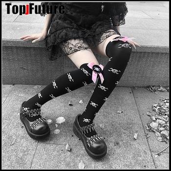 Gothic lolita ciemny Harajuku czaszka łuk czarny jk jednolity pończochy długie skarpetki lolita cosplay ciemny czarny diabeł pończochy tanie i dobre opinie Mikrofibra stockings WOMEN