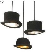 Jeeves Wooster High Hat Lamp Luminairea Iron Lamparas Lustre Led Pendant Light Loft Industrial Black Vintage Dining Room Kitchen