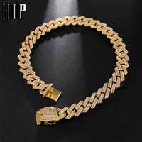 """Хип-хоп 18 мм 18 """"-24"""" шикарное тяжелое CZ Iced Out Майами кубинское Звено Цепи Полный Кристалл мужское ожерелье для мужчин раппер ювелирные изделия"""