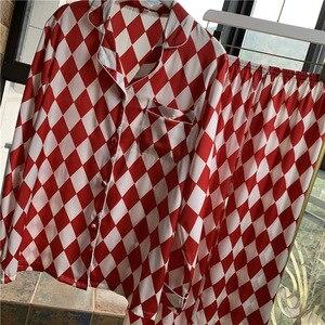 Image 4 - Lisacmvpnel Plaid Printing Long Sleeve Women Pajama Set Satin Soft Pajamas