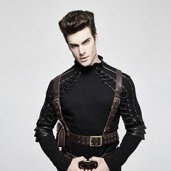 Мужской кожаный ремень PUNKRAVE, кожаный ремень в стиле стимпанк со съемным ремешком