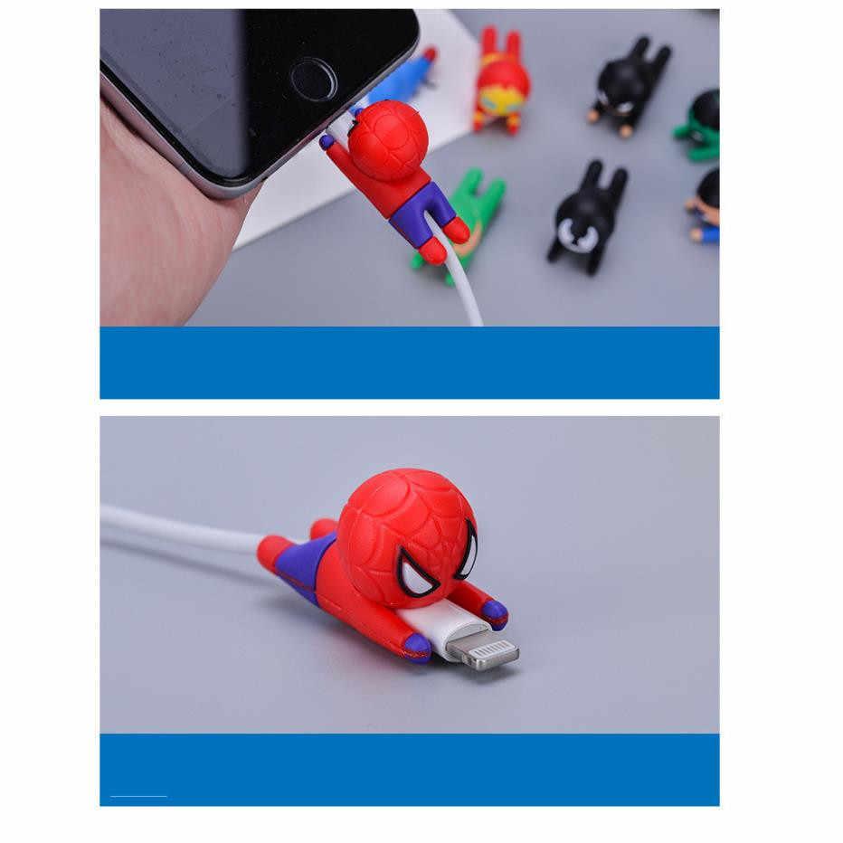 Marvel The Avengers Iron Man Cosplay Props Spider-Man de Sílica Gel Protetor de Linha de Dados Cabo de Carregamento USB Do Telefone Móvel anti-Break