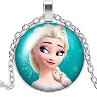 Brand Girl Necklace Jewelry Pendant Crystal Convex Princess Elsa Anna Snow Queen Glass Necklace Girl Gift