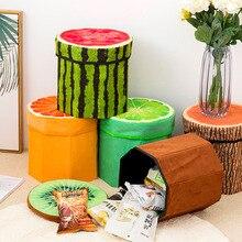 Folding Storage Organizer Ottoman Stool Cute 3D Creative Fruit Velvet Children Toy Storage Box Footstool Seat Fruits Pattern