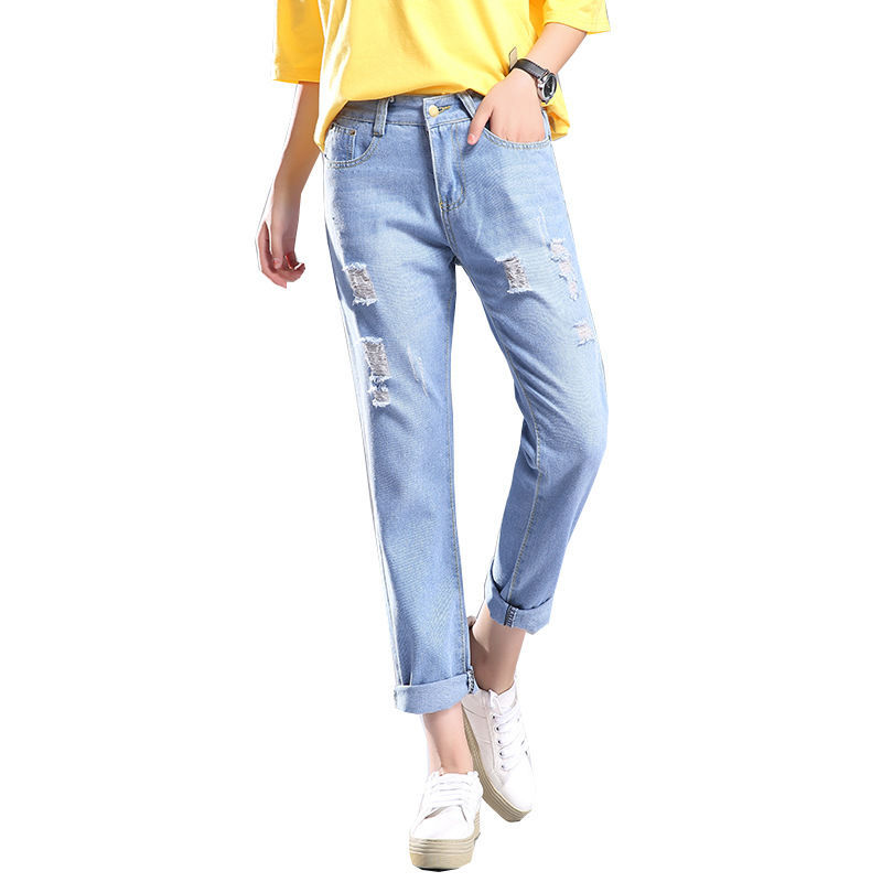 Ripped Jeans  Ripped Jeans For Women  Distressed Jeans  Cotton  Linen  Ankle-Length Pants  Regular