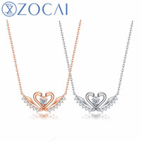 ZOCAI Swanheart Diamond Necklace 18k gold(AU750) necklace nutural certificated 0.06ct/0.10ct/0.17ct diamond gift necklace C00118