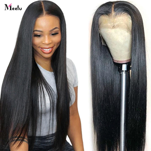 Meetu Lace Front Wigs Indian Human Hair Wigs Pre-Plucked With Baby Hair Remy Straight Lace Front Human Hair Wigs For Women