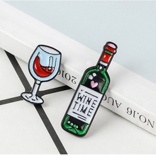 Wine Time Mini Cute And Glasses Couple Pins Red Bottle cup Brooches Enamel Pin Badge For Lovers Best Friend