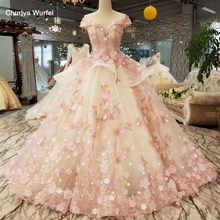LS6669 color lace 3d flowers evening dress cap sleeve o neck lace up back ball gown dress for lovely girl china quick shipping