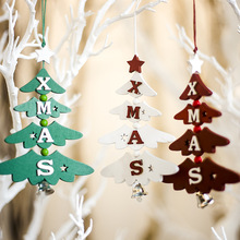 1PCS Christmas Bell Wooden Pendants Ornaments Xmas Letter Tree Ornament Wood Crafts For Home Party Wall Decoration