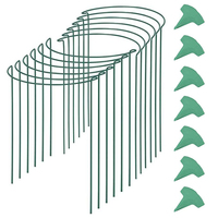 12 Packs 15.7 Inches Half Round Garden Plant Support Ring with 15 Pcs Plant Labels, Metal Garden Border Supports