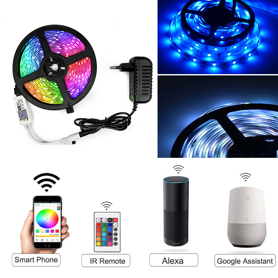 LED Strip RGB  5050 15M 10M 5M String Light Led Lamps With Power Plug Controller Waterproof Fiexble Light Led Ribbon Tape