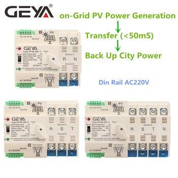 цена на NEW GEYA on-Grid Solar Power Automatic Transfer Switch Din Rail 2P 3P 4P 63A AC220V ATS PV System Power to City Power