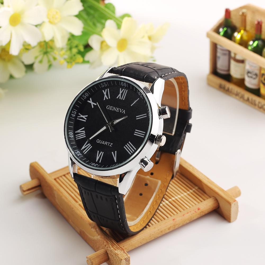 Fashion Faux Men Watch Leather Band Alloy Roman Numerals Clock Analog Quartz Sport Wrist Watch Reloj Hombre
