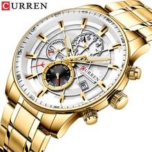 Curren Men Watches Multi-function Chronograph Quartz Wristwatch Luxury Male Clock Stainsless Steel Waterproof Relogio Masculino