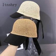 2019 New women Summer spring sun hat caps baseball casual adjustable straw lace-up bow visor cap Breathable