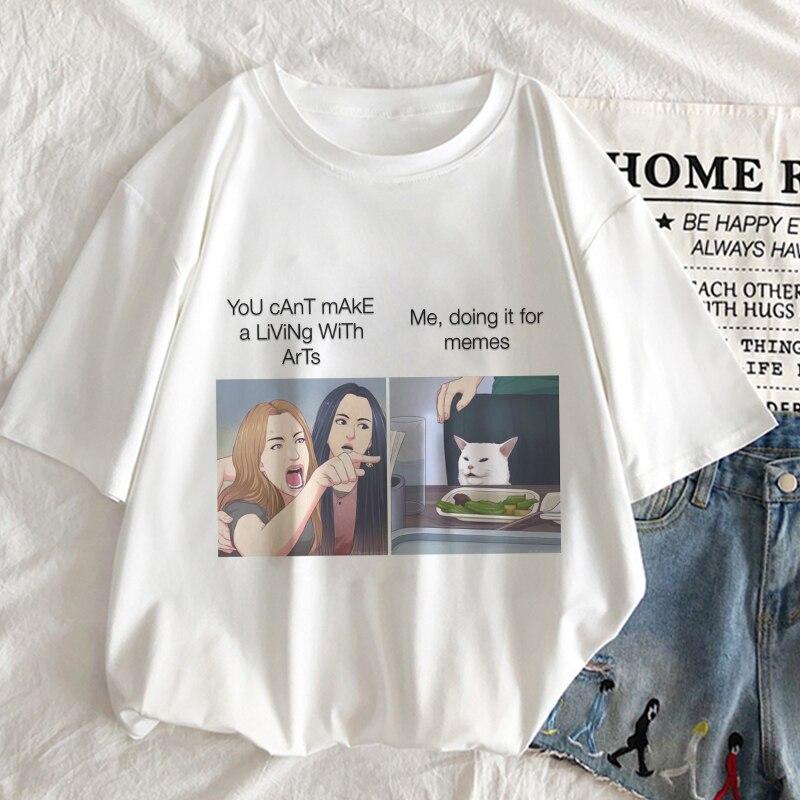 Me,doing It For Memes Graphic Print T-shirt Women New Summer Fun White Tshirt Harajuku Vogue Aesthetic Streetwear Female T Shirt