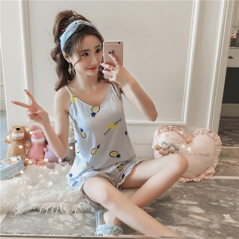 Summer New Style With Chest Pad Women Pajamas Summer Rabbit Camisole GIRL'S Cute Home Wear Free Bra Set