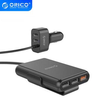 ORICO 5 Port QC3.0 Car Fast Charger with Extension Cord 52W Universal USB Adapter For MPV Car Mobile Phones Tablet PC 12V-24V