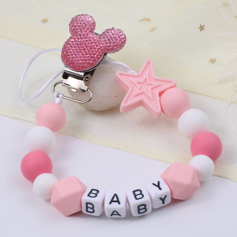 Personalise Name Baby Pacifier Clips Mouse Dummy Clip Silicone Baby Pacifier Holder Chain Newborn Baby Gift