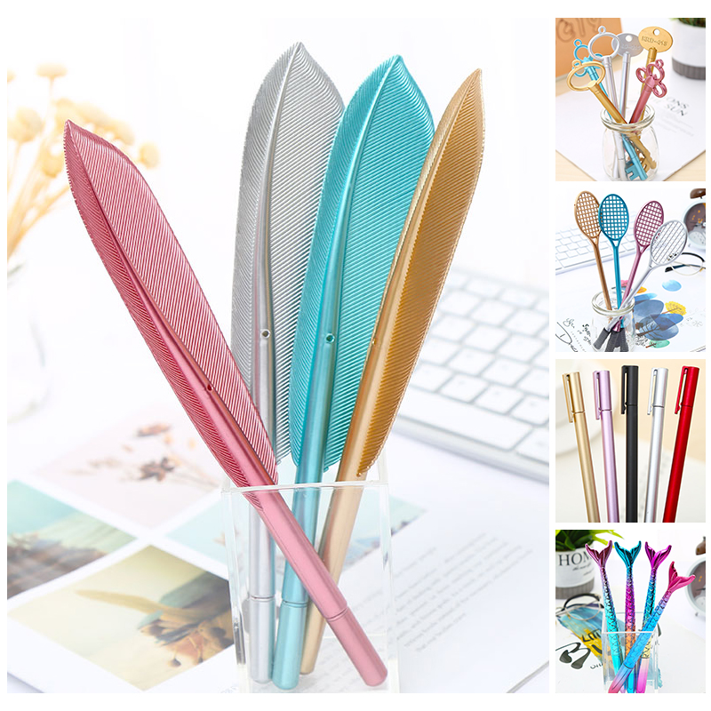 Creative Funny Mermaid Key Cat Plume Feather Gel Pen Kawaii School Office Bts Accessory Cute Stationery Pen Thing Material Item