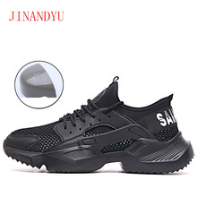 Malha de aço sapatos de dedo do pé sapatos de segurança de trabalho ultra leve macio inferior men respirável anti smashing botas de segurança moda botas de trabalho