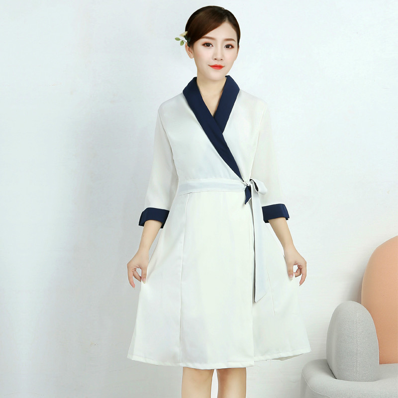 Hairdresser's Workwear Dress Autumn-winter Korean Edition White High-end Nurse's Beauty Salon Skin Management Dresses