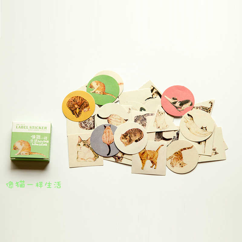 Kawaii Boxed Flowers Stickers Cute Cat Planner Scrapbooking Stationery Japanese Diary Stickers for Girl Escolar School Supplies