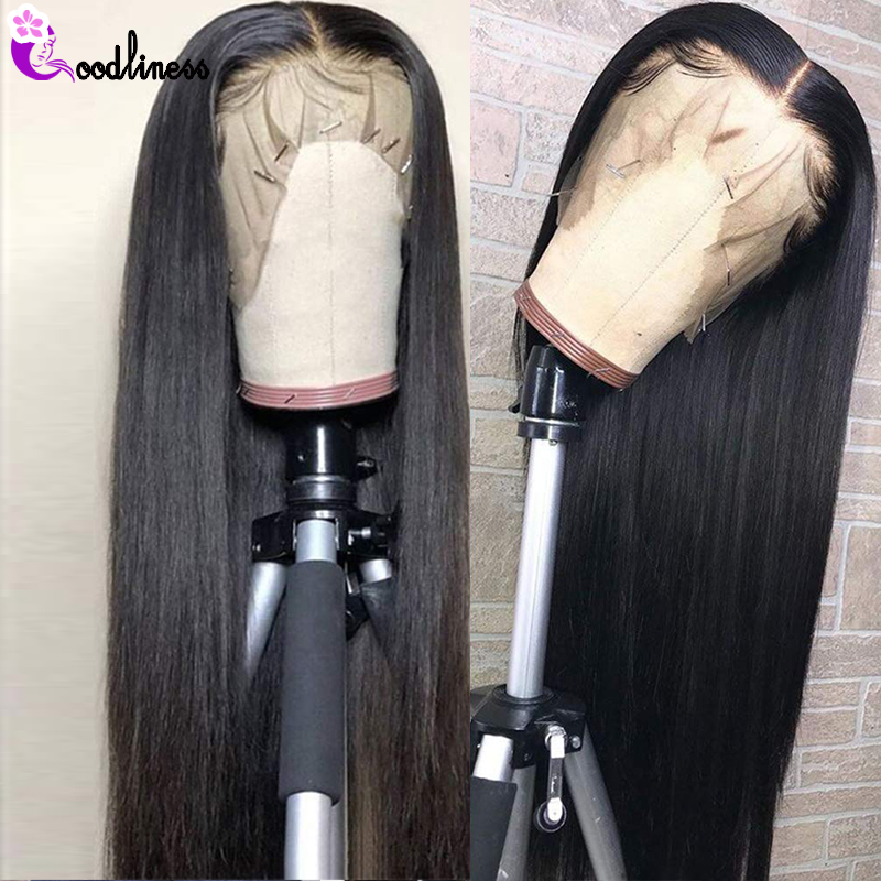 Transparent 13x6 Lace Frontal Wigs Glueless Brazilian Straight Human Hair Wigs Pre Plucked Remy Natural Black Long HD Lace Wig