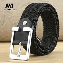 MEDYLA высокое качество холщовый ремень черный плетеный тканый эластичный стрейч ремень мужской для больших и высоких мужчин высокое качество