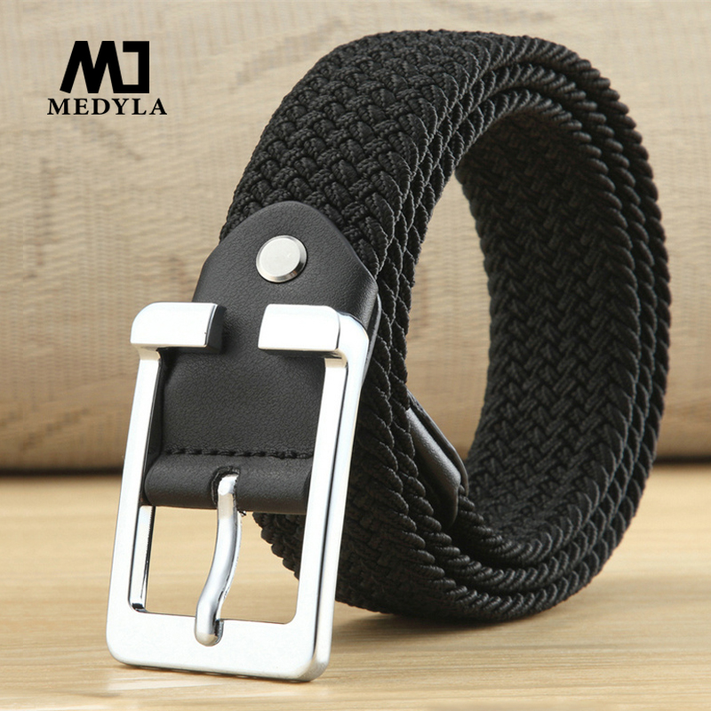 MEDYLA High quality canvas   belt   Black Braid Woven Elastic Stretch   Belt   Mens for Big and Tall Man High Quality