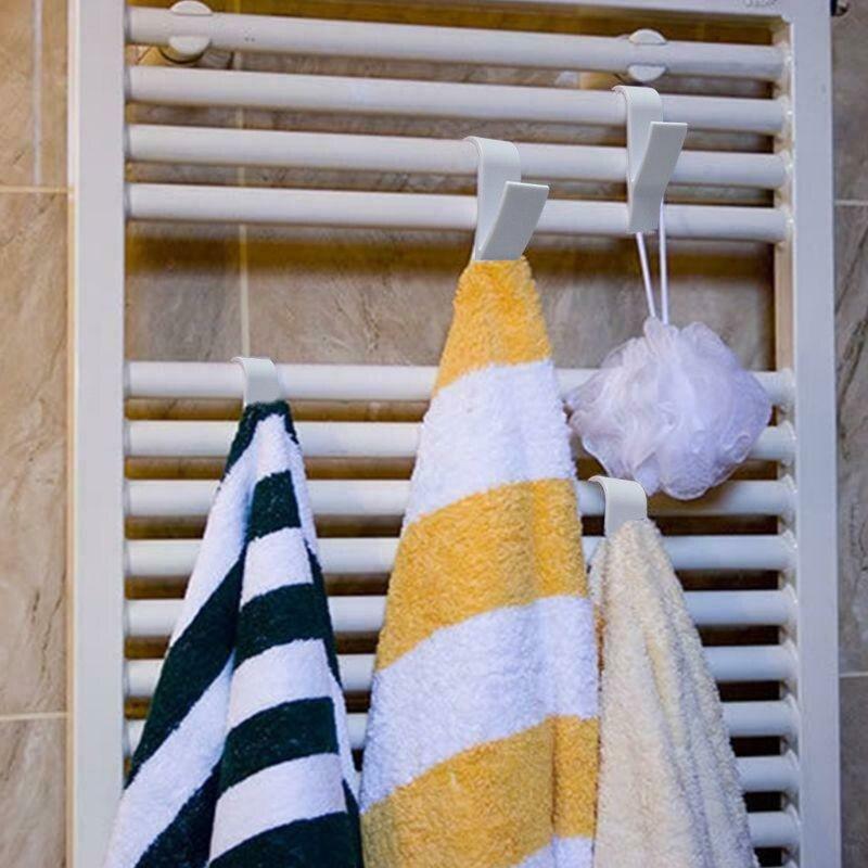 Newly R shape Towel Mop Hooks Hanger Storage Holders Clothes Hat Rail Radiator Tubular Bath Towel Hook Hanging Holder Rack MK